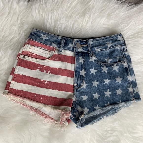 Bullhead Pants - Bullhead Denim Co. High Rise American Flag Shorts